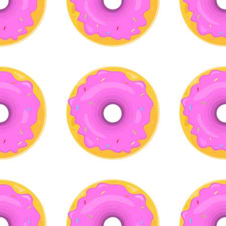 glazed: Donut seamless background texture pattern. Cute donuts with glazing. Seamless pattern. Delicious donut glazed. Donut pattern. Vector donuts pattern. Chocolate donuts. Isolated donuts seamless pattern Illustration