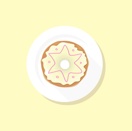 cake with icing: Donut logo. Sweet donuts design flat food. Doughnut, donuts coffee, donut isolated, coffee and cookies cake bakery, dessert menu, snack pastry, tasty. Donuts shop. Donut icon. Donuts glaze Illustration