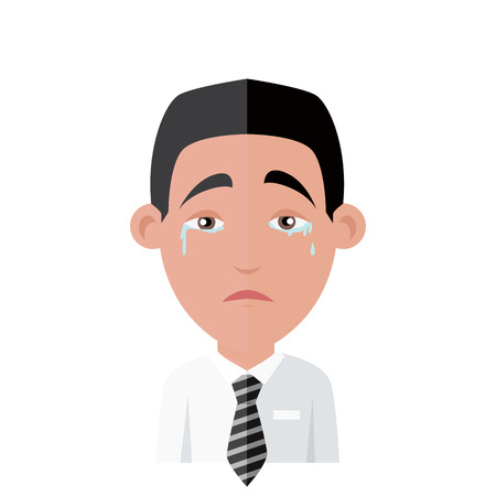 Emotion avatar man crying success. Emotion and avatar, emotions faces, feelings and emotional intelligence, expression and crying face, character man emotion, success person weeps illustration Illustration