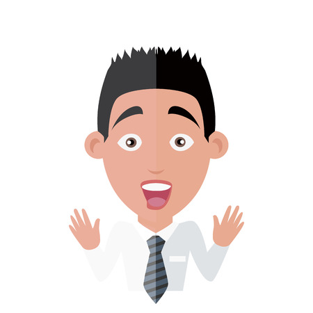 surprise face: Emotion avatar man happy success. Emotion and avatar, emotions faces, feelings and emotional intelligence, expression and surprise face, character man emotion, success person surprise illustration
