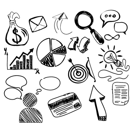 analytic: Hand drawn search new business element. Search business, open for business, startup business, starting a business, idea searching, sketch doodle new business, finance analytic scribble illustration Illustration