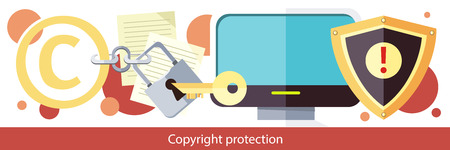 law symbol: Copyright protection design flat. Copyright and protection, intellectual property, copyright symbol, patent and copyright law, piracy business, law property, secure mark license illustration