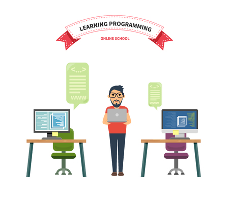 programming code: Online school leaning programming. Online school programming, leaning and programmer, programming code, computer programming, computer software, development and training programming code illustration