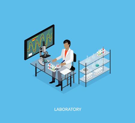 microscopio: laboratorio de ciencias isomatric diseño plano. Ciencia 3D y científico, laboratorio de ciencias, laboratorio de química, la investigación científica, microscopio y experimento, prueba de laboratorio de ciencias químicas, tecnología de la ilustración