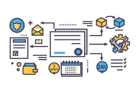 business service: Icon flat style design quality service. Business and warranty, support and answer, advice and solution efficiency and improvement, management strategy development illustration. Thin line outline icons
