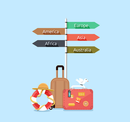 guidepost: Baggage travel asia america, europe, africa, australia. Travel signpost, direction travel guide, information destination travel, tourism travel way, route travel, guidepost world travel illustration