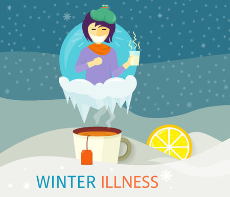contagious: Winter illness season people design. Cold and sick, virus and health, flu infection, fever disease, sickness and temperature, unwell and scarf illustration. Infected infographic. Illness concept