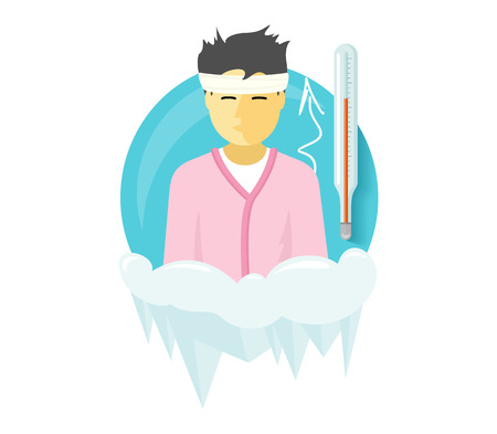 flu infection: Winter illness season people design. Cold and sick, virus and health, flu infection, fever disease, sickness and temperature, unwell and scarf illustration. Infected infographic. Illness concept