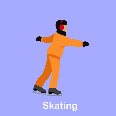 figure skating: People skating flat style design. Ice skating, figure skating, skating rink, sport lifestyle, activity leisure, winter and ice, recreation outdoor illustration. People skating isolated