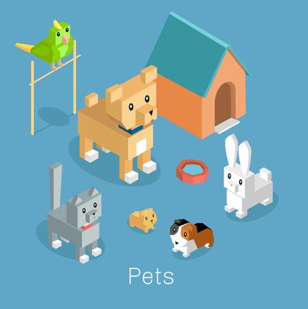 Pets set icon isometric 3d design.
