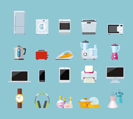Set of household appliances design flat. Ilustração