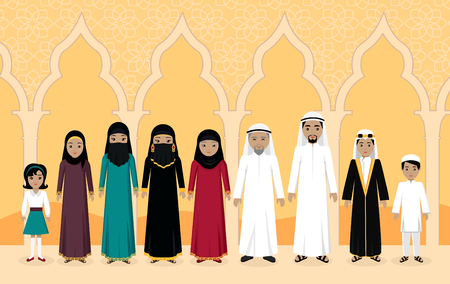 adult man: Arabian family people design flat. Illustration