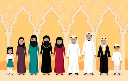 hombre arabe: las personas de la familia de Arabia dise�o plano.