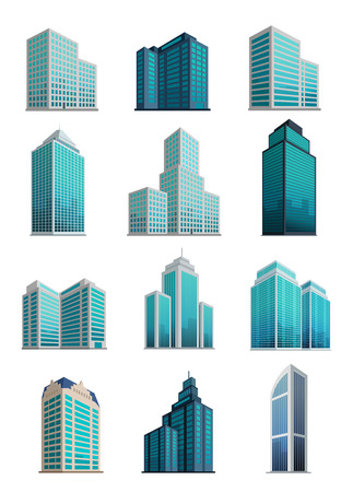 business district: Set icons skyscrapers buildings. Illustration
