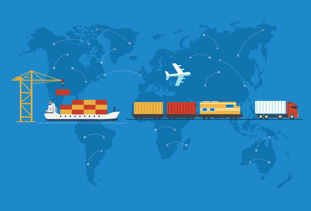 air freight: Shipping, delivery car, ship, plane transport on a background map of the world. Illustration
