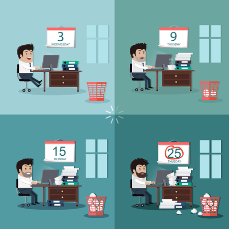 business time: Deadline design concept interior man. Deadline and calendar, calendar deadline, time and time running out, timeline and due date, business deadline, work office deadline, job deadline illustration