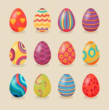 color design: Set of easter eggs design flat. Easter and chocolate easter eggs, egg set design, holiday decoration eggs set, traditional ornament eggs, ornate food. Illustration