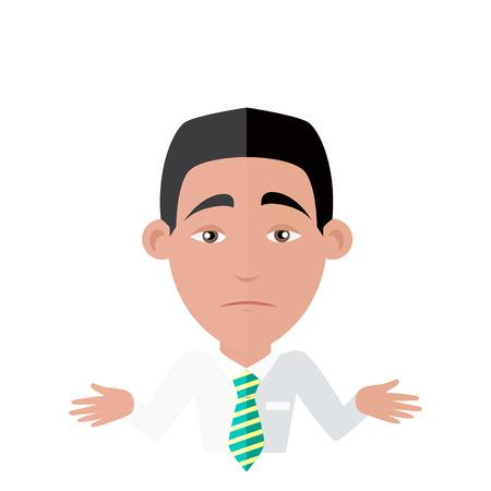 persona confundida: Emoci�n avatar hombre no s� �xito respuesta.