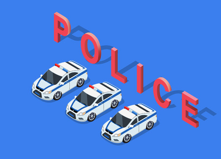 interceptor: Flat 3d isometric high quality police car. Isometric police car top view. Isolated isometric police car. 3D isometric police car. Isometric blue and white police car icon. Illustration