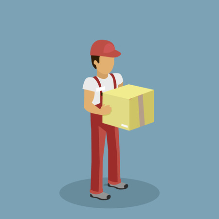 courier man: Isometric profession courier with box. Delivery man, delivery icon, free delivery, delivery parcel, isomertic service delivery,  person profession isometric, character courier postman illustration