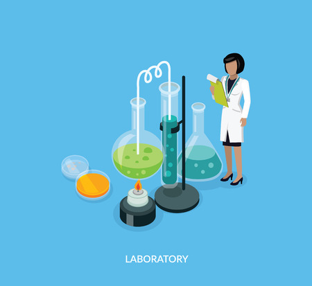 female scientist: Science lab isomatric design flat. Illustration