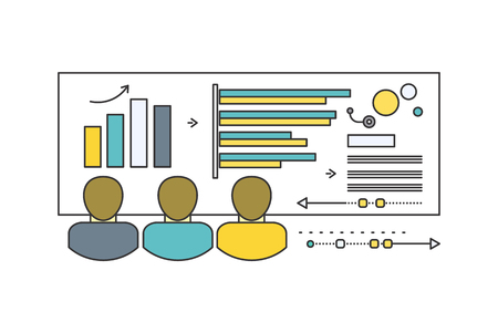 increase diagram: Forecast concept icon flat style. Business growth graph, finance market progress chart, financial investment, profit marketing, diagram stock increase, report and statistic data illustration Illustration