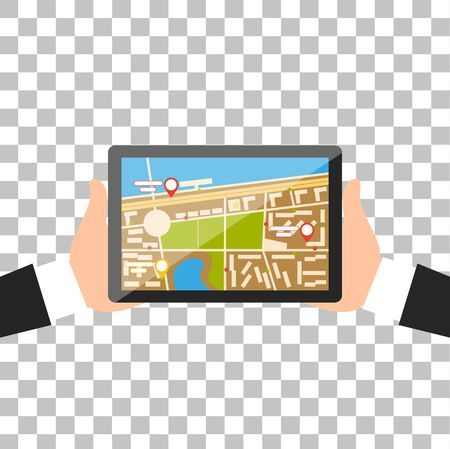 gps navigation: Hand with tablet navigation design. Illustration