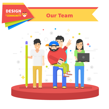 our: Our success team linear design. Teamwork and business team, our team business.