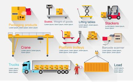 montacargas: Infografía Concepto de almacén equipo. Entrega y transporte de carga, servicio de envío, flete industria y paquete, logística industrial, exportación y distribución ilustración de producción