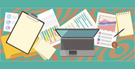 work table: Work table document and laptop design flat. Work  workplace office, office workplace, office interior, business table, workspace place, folder and document workspace, graph chart illustration