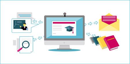 온라인 교육 아이콘 평면 디자인 스타일. 대학 웹, 학교 지식, 교육 연구, e- 러닝 컴퓨터, 인터넷, 연구, 과학, 연구 정보 그림