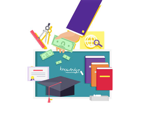 invest: Invest in education concept icon flat design.