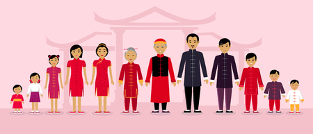 asian family: Chinese family people design flat.