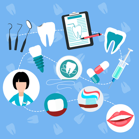 Dental treatment design flat concept.