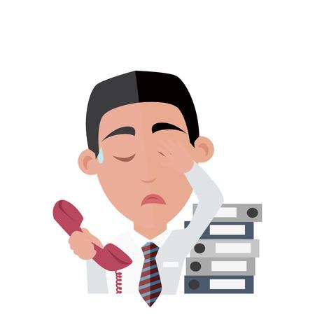 fatigue: Emotion avatar man fatigue success.