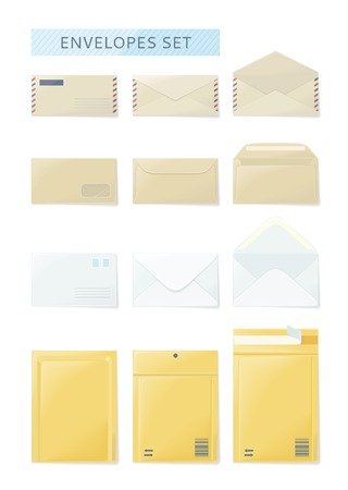 close icon: Envelope set open and close design flat. Envelope and letter, envelope icon, mail and open envelope, envelope template, white envelope, invitation envelope, open or close envelope illustration Illustration