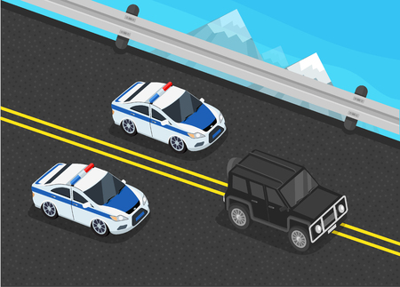 convoy: Isometric police motorcade car flat design. 3D police guard, motorcade escort, policeman in car, 3d cortege police car police protection, motorbike police patrol, transport famous safeguard