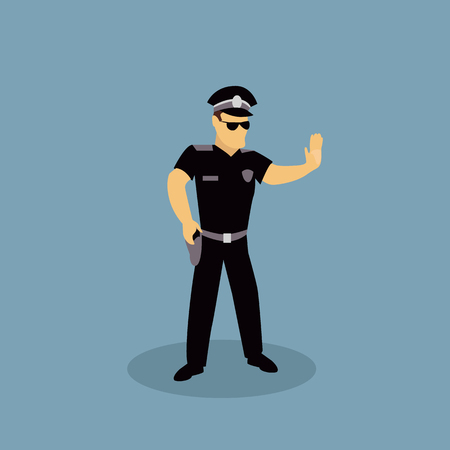 Profession police character design flat. Police profession, police officer, policeman or cop, security police, uniform man police, officer police, occupation police, job authority police illustration Vettoriali
