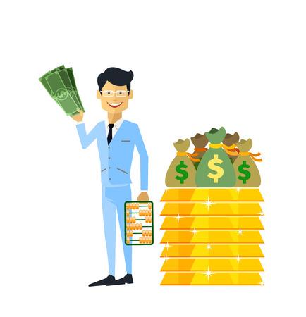 Homme d'affaires avec de l'argent en or isolé. L'homme avec de l'or, l'argent et un lingot d'or, argent pour l'or, l'argent vieux or, trésor dollar en or, bar or, homme d'affaires richesse et riche avec de l'argent illustration Vecteurs