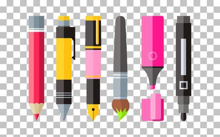 werkzeug: Malwerkzeuge Stift Bleistift und Marker flaches Design. Malerei und Werkzeug, Zeichenwerkzeuge, malen Pinsel, Werkzeuge, Bleistift und Marker, Federzeichnung, Briefpapier Malwerkzeuge, Pinsel Illustration