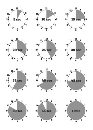 minute hand: Set of time second stopwatch design flat. Clock and stopwatch icon, time and stopwatch hand, watch and stopwatch minute, second time, timer instrument, equipment stopwatch illustration Illustration