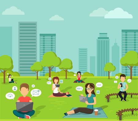 connexion: Les gens dans le parc en ligne web design plat. Illustration