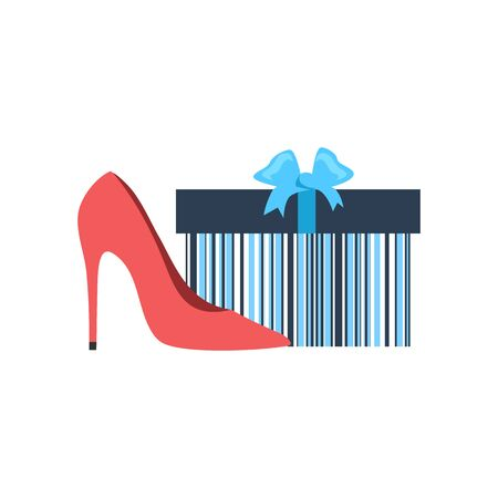 shoe box: Gift box and woman shoes flat design. Gift and box, shoe present, ribbon and gift box vector, gift box isolated, sale fashion shoes, woman shopping shoes, packaging glamour surprise illustration
