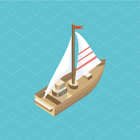 yacht: Yacht at sea isolated icon isometric.