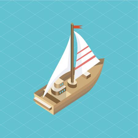 bateau voile: Yacht en mer isolé icône isométrique.