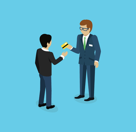 Man give credit card icon isometric. Man with card, businessman with credit card, card in hand, payment finance card, pay and buy with card, money on credit card, worker with card illustration Illustration