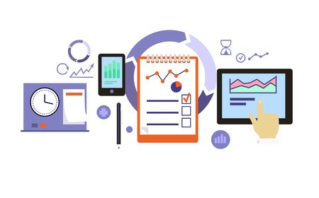 business development: Planning process icon flat design. Business development, management project, marketing organization, service and strategy, information and data, workflow and optimization illustration
