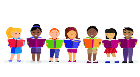 cartoon reading: Group of kids studying and learning together. Boys and girl reading books. Various nationalities students reading books. Reading kid. Reading student. Kid reading open book. back to school