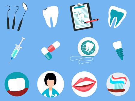 dental treatment: Dental treatment design flat concept.