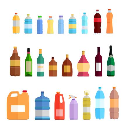 Bottle set design flat oil and beverage. Bottle and water bottle, plastic bottle, wine bottle, beer bottle, glass bottle, beverage bottle, oil bottle, drink bottle, whiskey bottle illustration